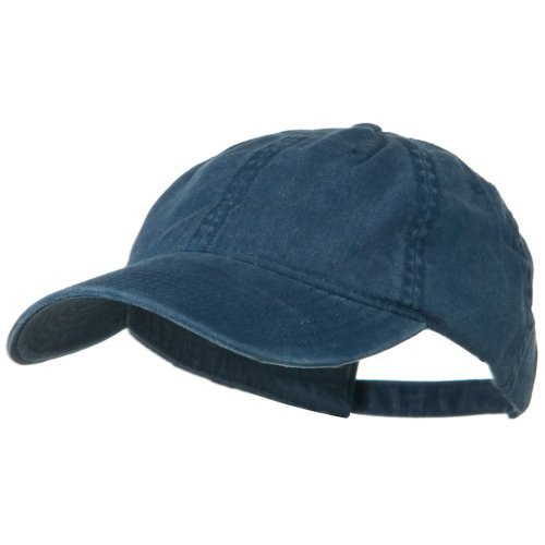 Blue Ball Cap Hat (Washed Solid Pigment Dyed Cotton Twill Brass Buckle Cap - Navy)