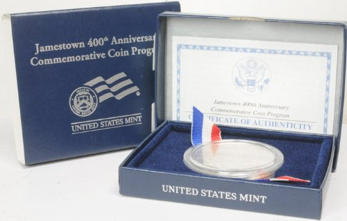 2007 US Mint Jamestown 400Th Anniversary Silver Dollar $1 Coin COA ()