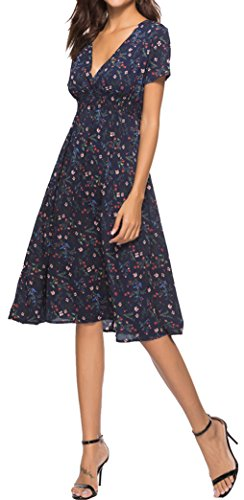 Yeesea Elegant Kurzarm Navy Blumendruck Casual Strandkleid Damen Midi Sommerkleid