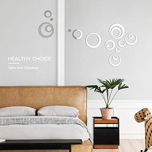 HOODDEAL Acrylic Mirror Style Removable Decal Vinyl Art Wall Sticker Home Decor (24 PCS, Silver) 3