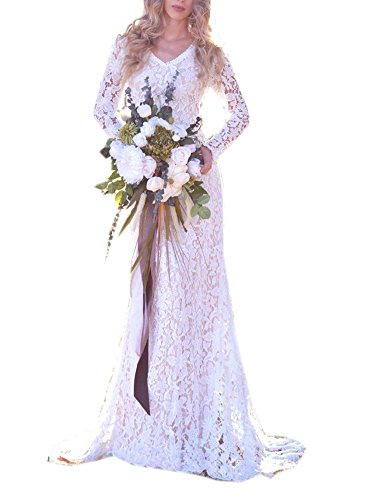 - Datangep Women's Sheer Lace Long Sleeve Bridal Gowns V-Neck Hippie Boho Wedding Dress Ivory US2