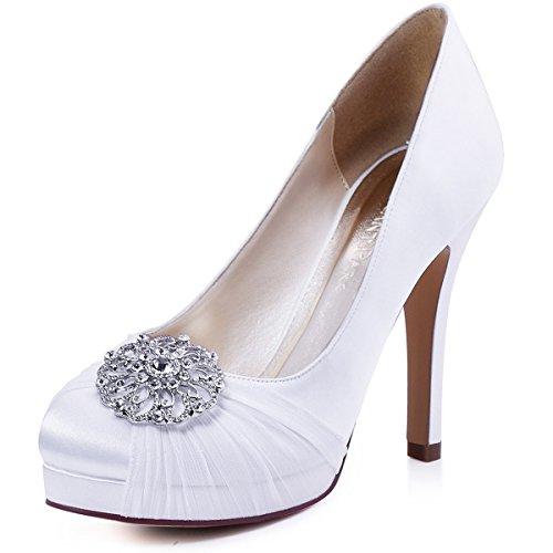 ElegantPark HC1609P Women Pumps Closed Toe Platform High Heel Buckle Chiffon Satin Evening Dress Wedding Shoes White US 11