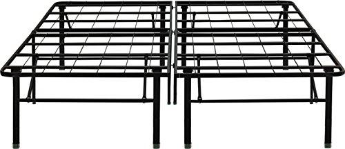 "Flex Form Raised Platform Bed Frame Base / Metal Mattress Foundation: 14"" Height, Black, California King"