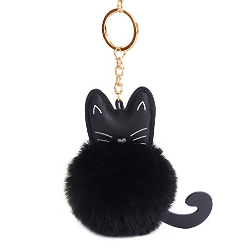 Youngate Mini Cat Shape Cute Kitty Rabbit Fur Pompom Keychain Phone Ornament Gift (Height(3.94