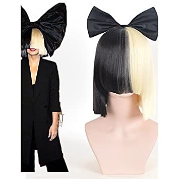 Halloween Party Online SIA Alive This Is Acting Half Black Amp Blonde Short Wig With