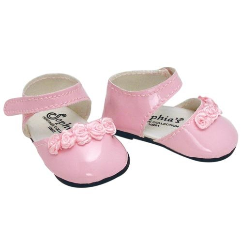 Doll Dress Shoes in Pink fits American Girl Dolls, 18 Inch Doll Shoes in Pink Patent Leather with Ankle Straps and Rose Ribbon Detail (Patent Ribbon)