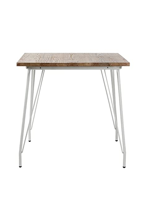 VIVA HOME Metal Dining Table With Elm Wood Top, White