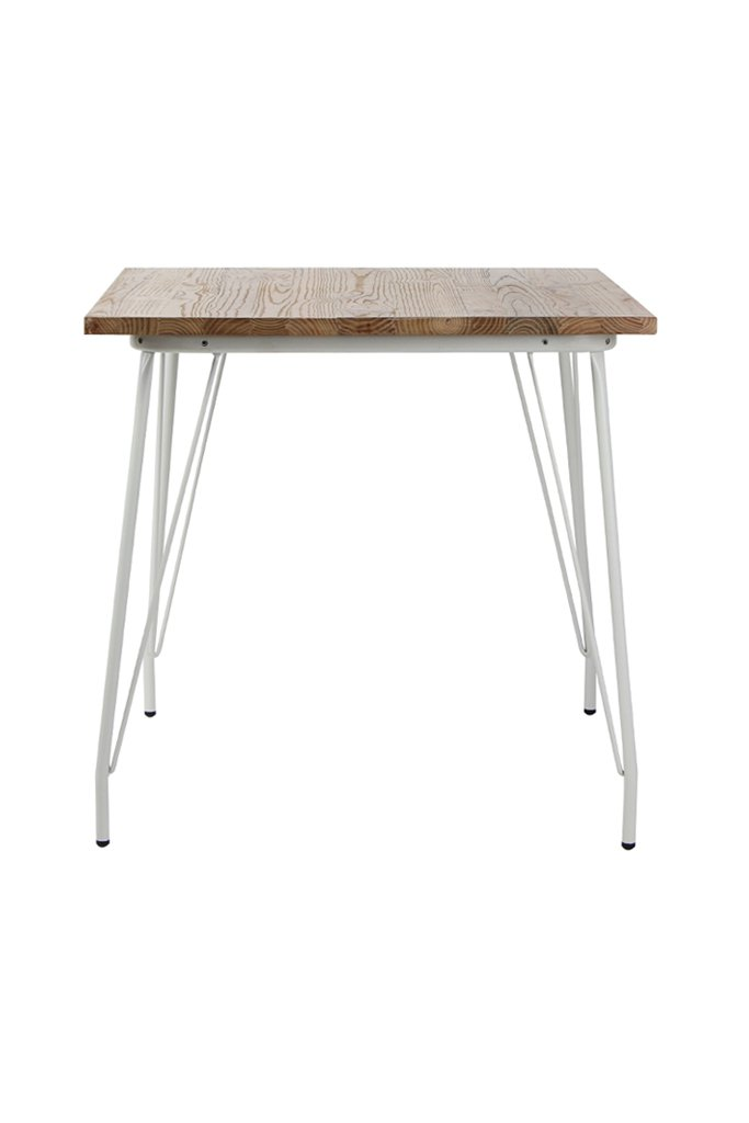 VH FURNITURE Metal Dining Table with Elm Wood Top, White