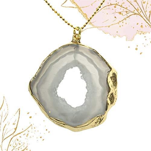 Collar de ágata blanca bañado en Oro - Colgante piedra natural