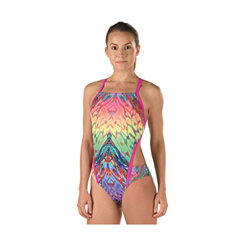 - Speedo Women's Rio Printed Rainbow Wings One Piece Swimsuit, Multicolor, Size 38
