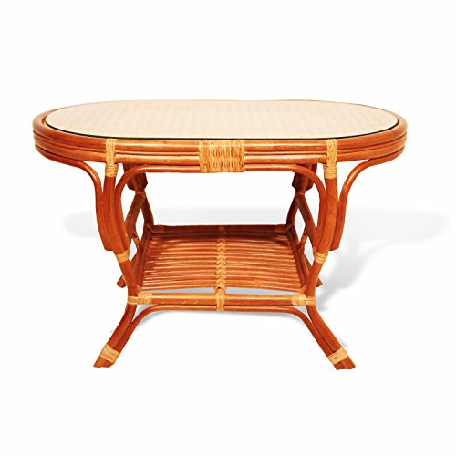 (SunBear Furniture Pelangi Coffee Oval Table with Glass Top Natural Rattan Wicker ECO Handmade Design, Cognac)