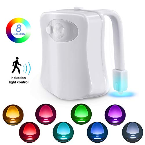 Toilet Night Light, Motion Sensor LED Night Lights,Two Modes with 8 Colors Changing Toilet Bowl Night Light for Bathroom Washroom, Perfect Detection-Fits Any Toilet (Best Led Lights For Bathroom)