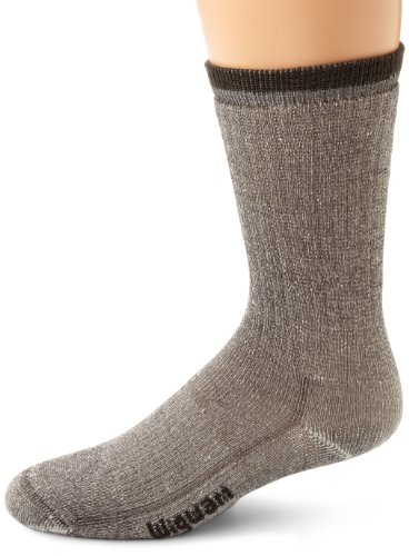 Wigwam Unisex Men's/Women's Merino Wool Comfort Hiker Crew Length Sock (Large 3 PK(3 PAIRS), Charcoal) -