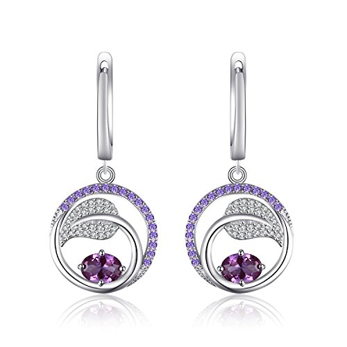 JewelryPalace Leaf 1.7ct Created Alexandrite Sapphire Purple Cubic Zirconia Dangle Earrings 925 Sterling Silver