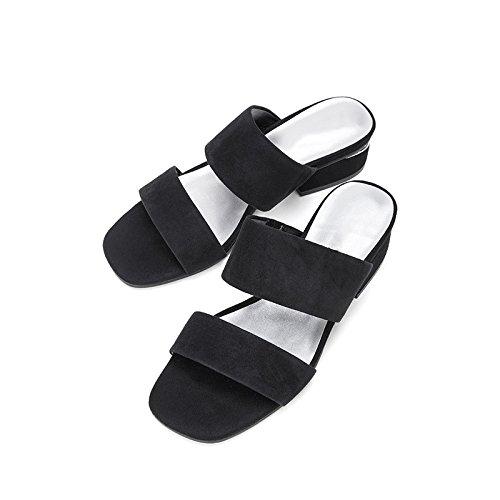 Dulces de bajo Tacones Color de Negro Sólido de DHG Zapatillas de Mujer de Sandalias Tacón Sandalias Planas Verano de 34 Moda Sandalias Punta Ocasionales Altos 5xpUAR