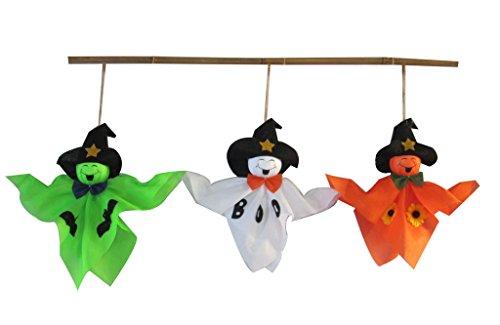 Set of 3 Ghost Scarecrow 11-Inch Halloween Fall Harvest (Bat Halloween Makeup Tutorial)