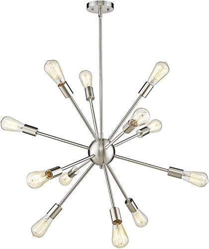 Harriet Sputnik Chandelier 12-Light Brushed Nickel, Starburst Modern Pendant Lighting, Industrial Vintage Ceiling Light…