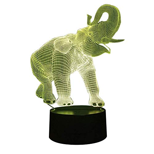 Novelty Lamp, 3D LED Night Light Illusion Lamp Elephant Pattern Three-Dimensional 7 Color Change Decor Lamp Touch Switch,Ambient Light by LIX-XYD (Image #6)