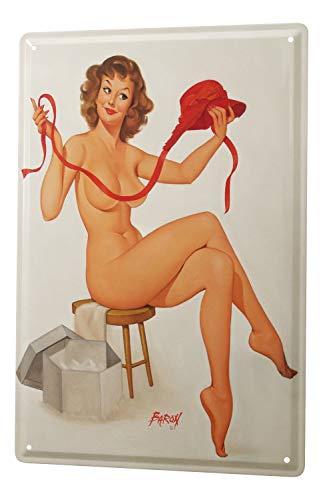 LEotiE SINCE 2004 Cartel de Chapa Baron Chica Pin-up Sexy Desnuda en taburetes y un Sombrero Rojo de 20x30 cm de Mano