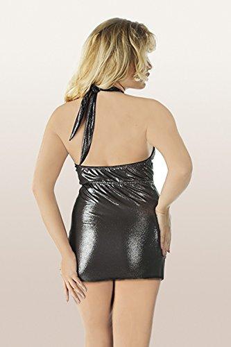 Neckholder dehnbar Wetlook tiefem Ausschnitt Kleid Schulterfrei mit Dessous glänzend XXL vwxCCqdp