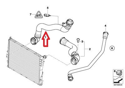 Thermostat housing to radiator for Z4 2.5i Z4 3.0i E85 BMW Genuine Radiator Hose