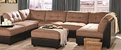 Coaster Home Furnishings Sectional Sofa with Button Tufted Design Brown  Microfiber