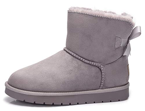 Womens Flat Camel Boots (CAMEL CROWN Women Winter Boots Snow Boots Suede Faux Comfort Ribbon Classic Casual Soft Toe Warmers)