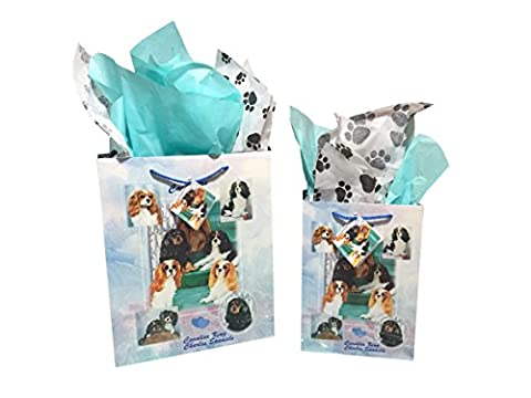 Dog Breed Gift Bags Set of Two with Tissue Paper (Cavalier King Charles Spaniel) - Golden Retriever Wrapping Paper