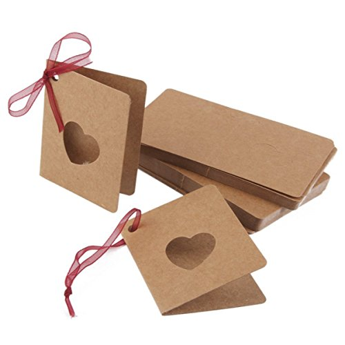FENICAL Hollow Love Heart Card Tag Kraft Paper Hang Tag with Red Rope for Wedding Party Decoration 50pcs