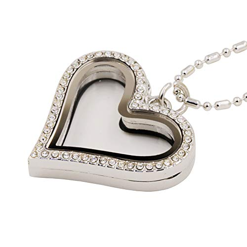 Clear Crystal Heart Shaped Floating Locket Necklace Memory Glass Locket for DIY Floating Charms ()