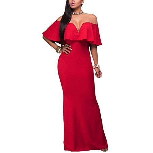 QIYUN.Z Vestido Atractivo Sin Tirantes Del Partido Coctel Vestido Maxi Largo Del Volante Cuello De La Raya Vertical De Las Mujeres Rojo