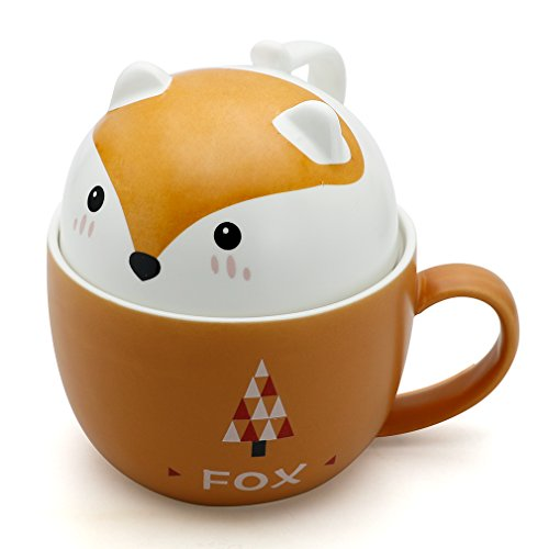 Teagas Cute Funny Fox Ceramic Coffee Mug Cup for Coffee Lovers Animal Lovers Gift by Teagas