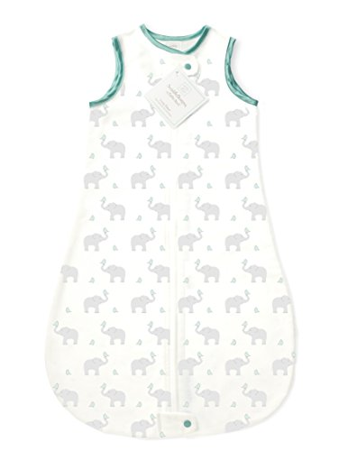 SwaddleDesigns Cotton Sleeping Sack with 2-Way Zipper, Made in USA, Premium Cotton Flannel, Elephant and SeaCrystal Chickies, 6-12MO