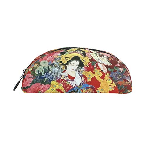 MUOOUM Japanese Geisha Girl Pencil Case Semicircle Stationery Pen Bag Pouch Holder for School Office -