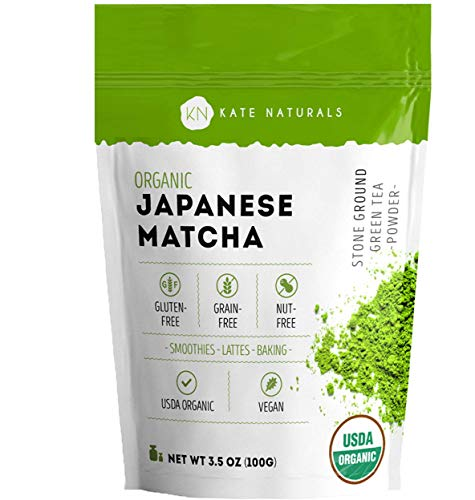 Organic Japanese Matcha Green Tea Powder by Kate Naturals - Certified Organic from Japan. Culinary Grade for Smoothies, Lattes, Baking, Weight Loss. Boost Energy, Focus (100g - Value Size) (Green Tea Powder Japan)