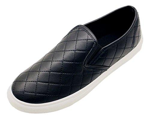 Kenna Best Selling Black Quilted School Uniform Comfy Cute Flat Round Toe Fun Casual Shoe Slip On Glitter Loafers Laceless Tenis Skateboard Sneakers for Unisex Boys Women Girl (Size 7, Black) - Knock Off Wen