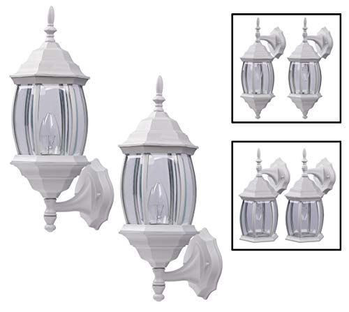 (Outdoor Exterior Wall Light Fixture Lantern Porch Patio Downlight/Uplight Twin Pack, White)