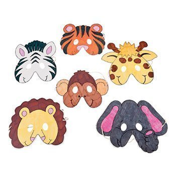Fun Express Color Design Your Own Zoo Animal Mask - 12 (Make Your Face White Halloween)