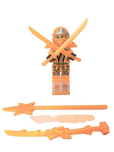 Well Made Warehouse Golden Ninja Mini Figure with All 4 Weapons Including Swords with Back Harness, Tall Staff, Ghosted and Golden Daggers!