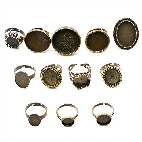 JETEHO 12 Pieces Mixed Adjustable Ring Blanks Setting Cabochon Settings Cameo Tray for DIY Ring Making, Antique Bronze ()