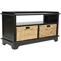 Heather Ann Creations Vale Series Multi Purpose Wood Entryway Storage Bench with 2 Hyacinth Baskets, Black