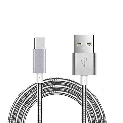 Durable Metal - Compatible with DuraForce Pro 2 - Durable Metal Braided USB Cable Type-C Sync Charger Power Wire USB-C Data Cord [Silver] [Rapid Charge Support] Works with Kyocera DuraForce Pro 2