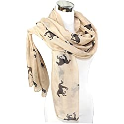 PANZ Western Horse Print Scarf (Brown and Black Horse)