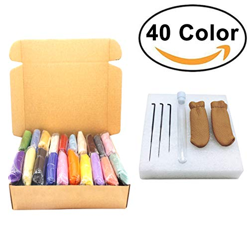 Artec360 Merino Wool Roving for Needle Felting Kits 40 Colour 3g/0.1oz Per Color Individual Package with 3 Needles, 1 Pair Leather Gloves, Foam Mat with Tutorials Sent Randomly