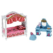 Fisher Price Loving Family Dollhouse Basic Decor Furniture Accessory Set - KID's BEDROOM with Pillow, Bed with Canopy, Vanity Table with Mirror and Vanity Chair (Dollhouse Sold Separately)