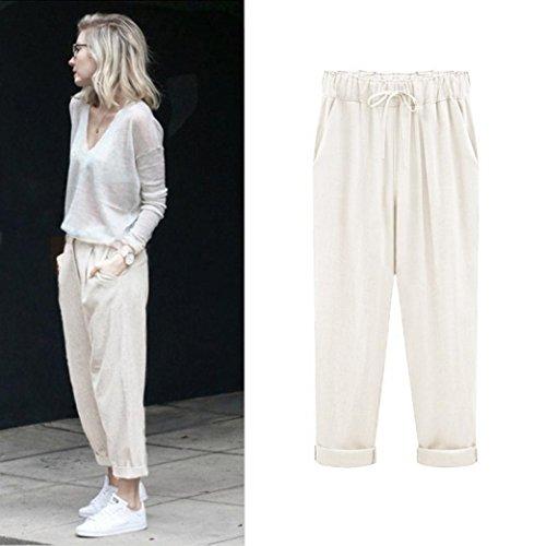 Price comparison product image Fheaven(TM) Plus Size Women Pant Casual Cotton Linen Pants Elastic Waist Summer Slim Pants (5XL, Beige)