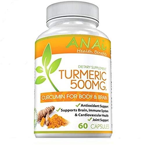 Turmeric Curcumin Capsules for Joint Pain Relief, Anti-Inflammatory, Antioxidant - 100% Natural High Potency & Full Absorption, 95% Curcuminoids 500mg Turmeric Supplement - 60 ()