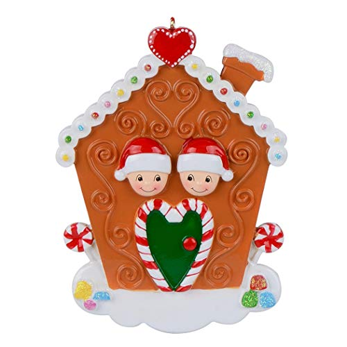 MAXORA Gingerbread House Family of 2 Personalized Christmas ()