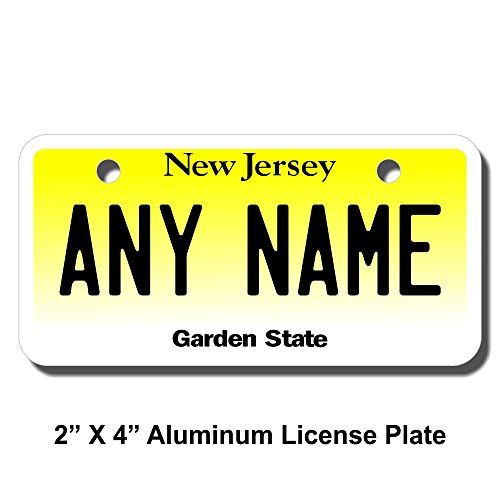 (TEAMLOGO Personalized New Jersey License Plate - Sizes for Kid's Bikes, Cars, Trucks, Cart, Key Rings Version 1 (2 x 4 Aluminum License Plate))