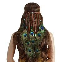 TIFENNY Women Vintage Ethnic Style Headband Bohemian Peacock Feather Hand Made Hair Accessory Headdress
